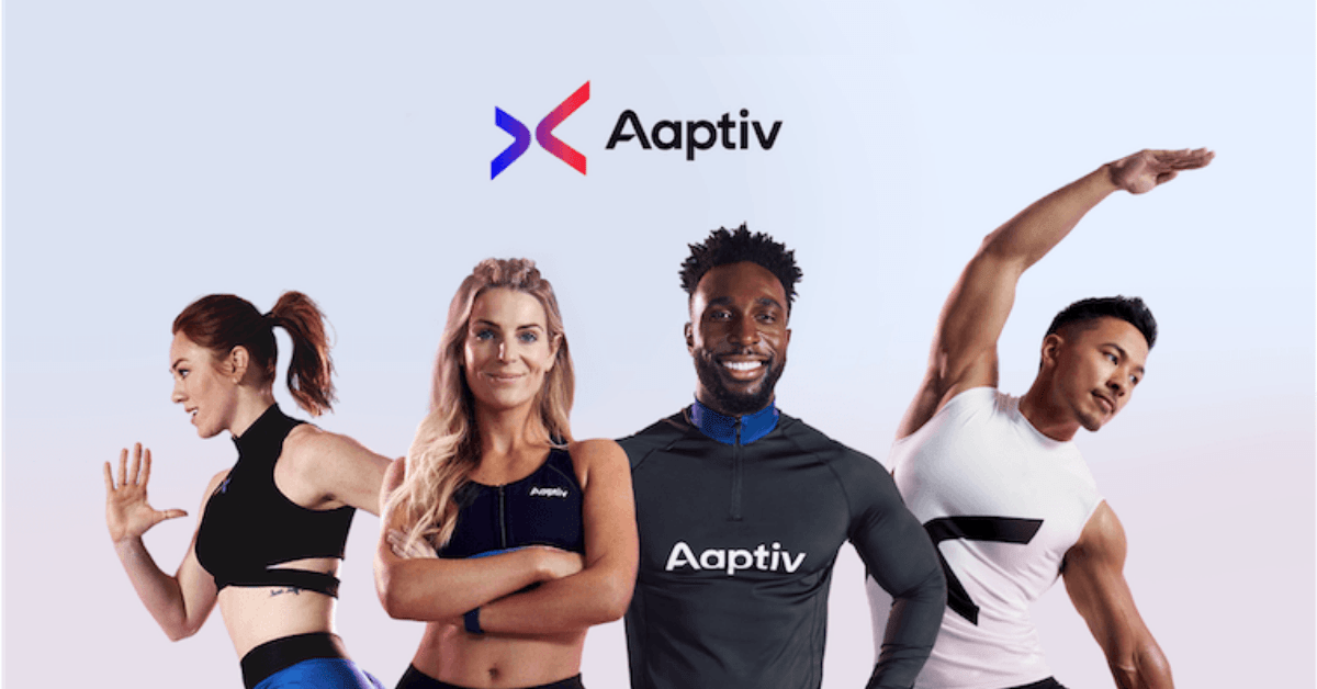 4 fit people standing under the aaptiv logo