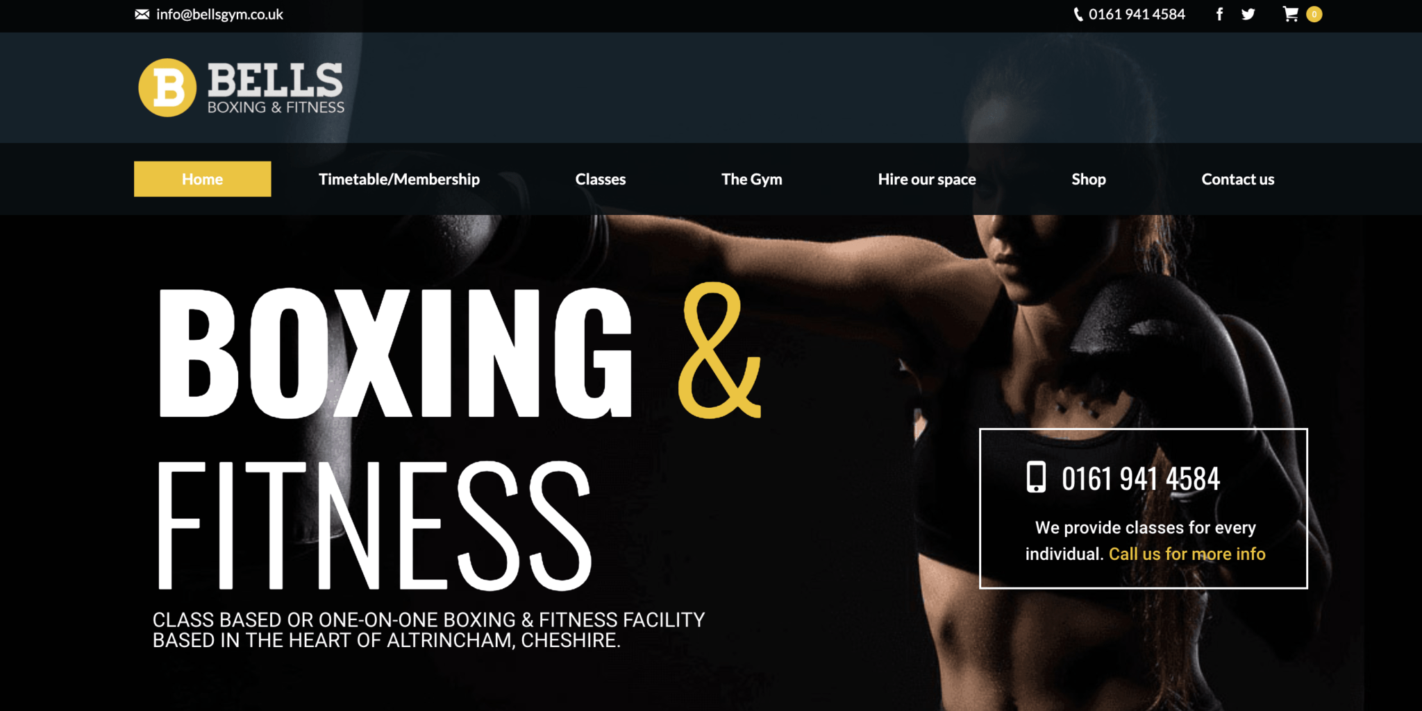 Boxing gym website with woman punching in the background