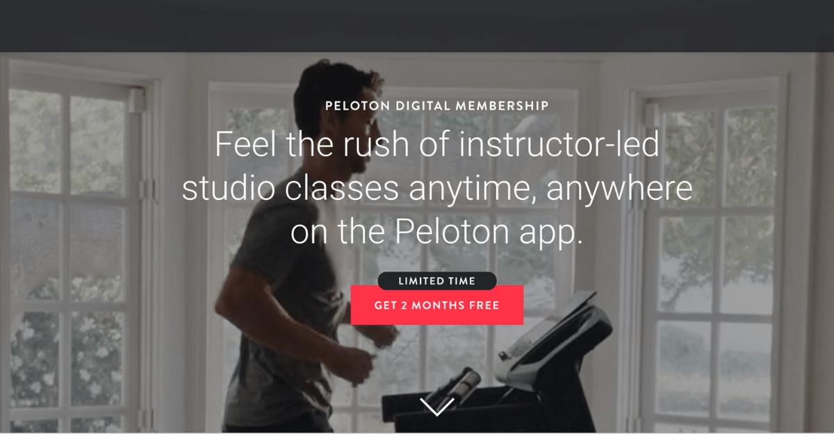screenshot of the Peleton website with man running on a treadmill