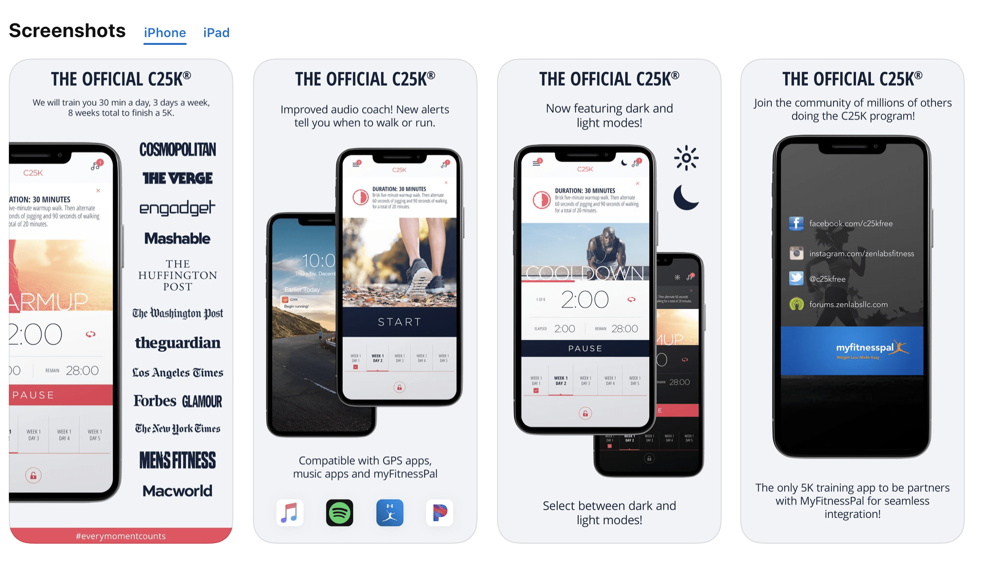 screenshots of the app on the App store