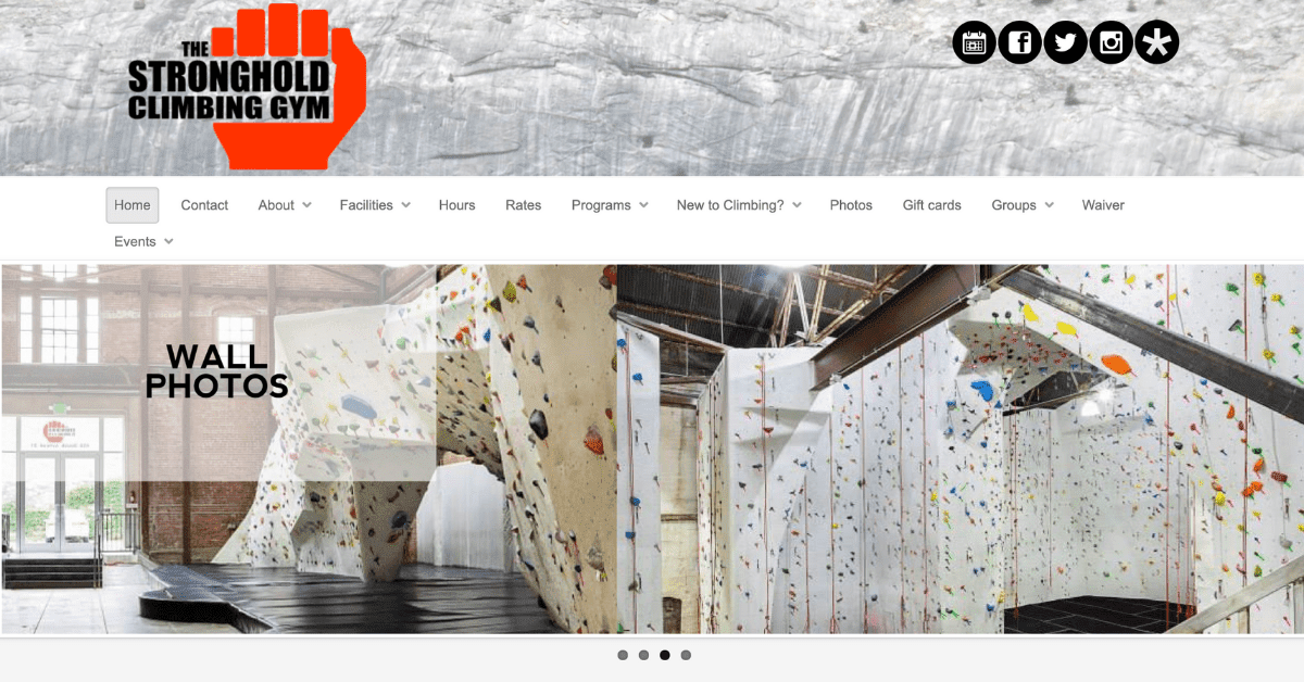 stronghold climbing gym website