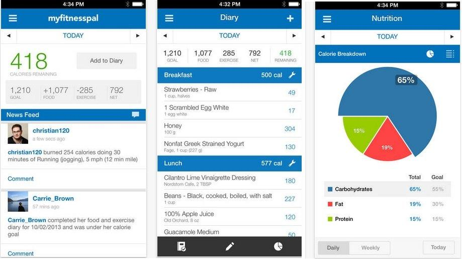 three screenshots of different parts of the myfitness pal app